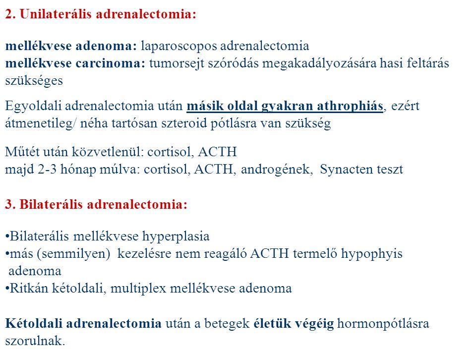 2. Unilaterális adrenalectomia: