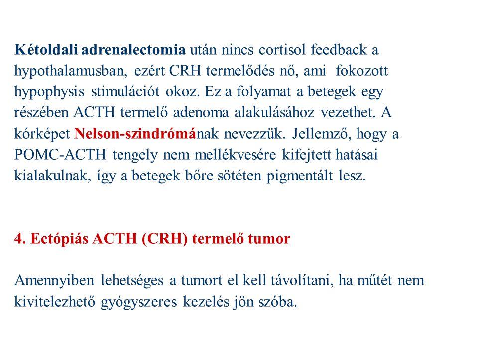 Kétoldali adrenalectomia után nincs cortisol feedback a hypothalamusban, ezért CRH termelődés nő, ami fokozott hypophysis stimulációt okoz. Ez a folyamat a betegek egy részében ACTH termelő adenoma alakulásához vezethet. A kórképet Nelson-szindrómának nevezzük. Jellemző, hogy a POMC-ACTH tengely nem mellékvesére kifejtett hatásai kialakulnak, így a betegek bőre sötéten pigmentált lesz.