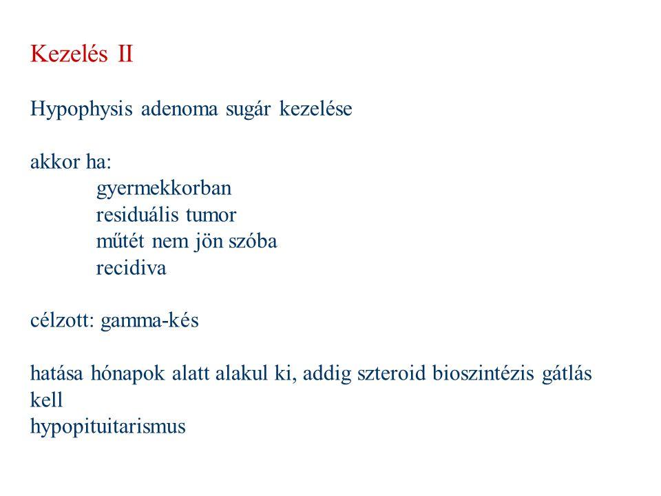 Kezelés II Hypophysis adenoma sugár kezelése akkor ha: gyermekkorban
