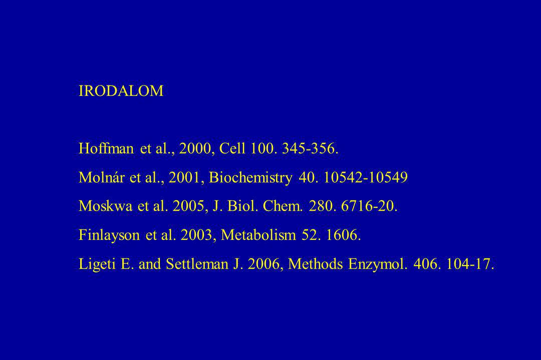 IRODALOM Hoffman et al., 2000, Cell 100. 345-356. Molnár et al., 2001, Biochemistry 40. 10542-10549.