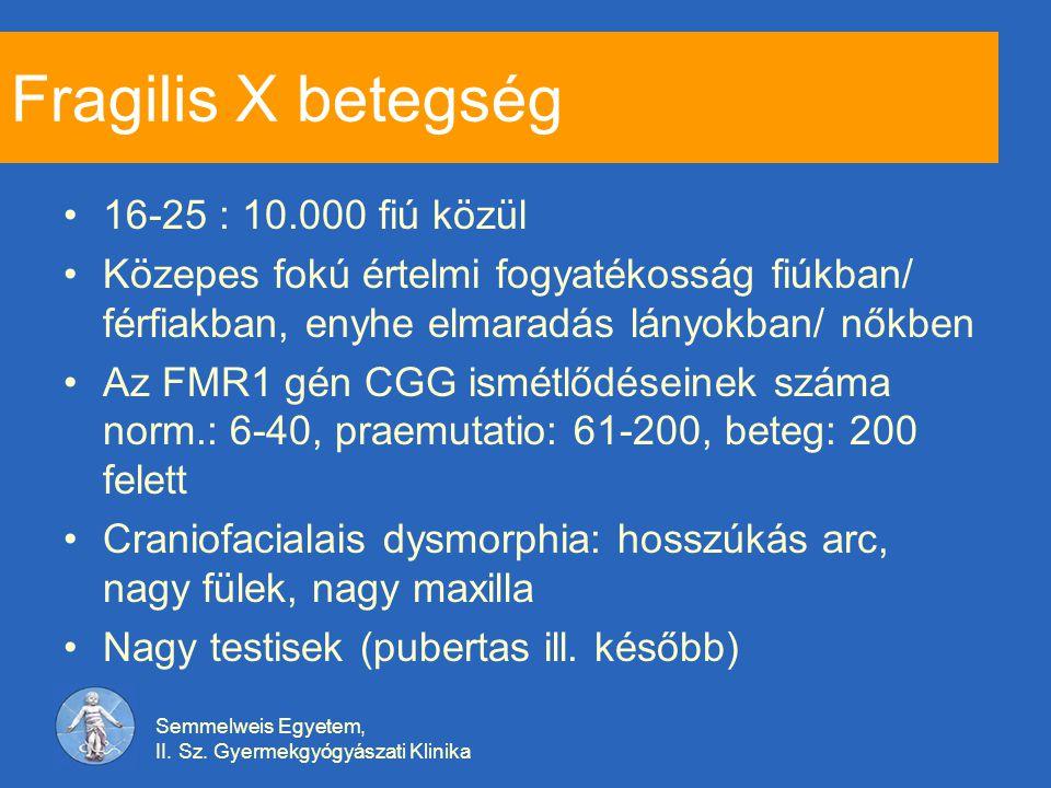 Fragilis X betegség 16-25 : 10.000 fiú közül