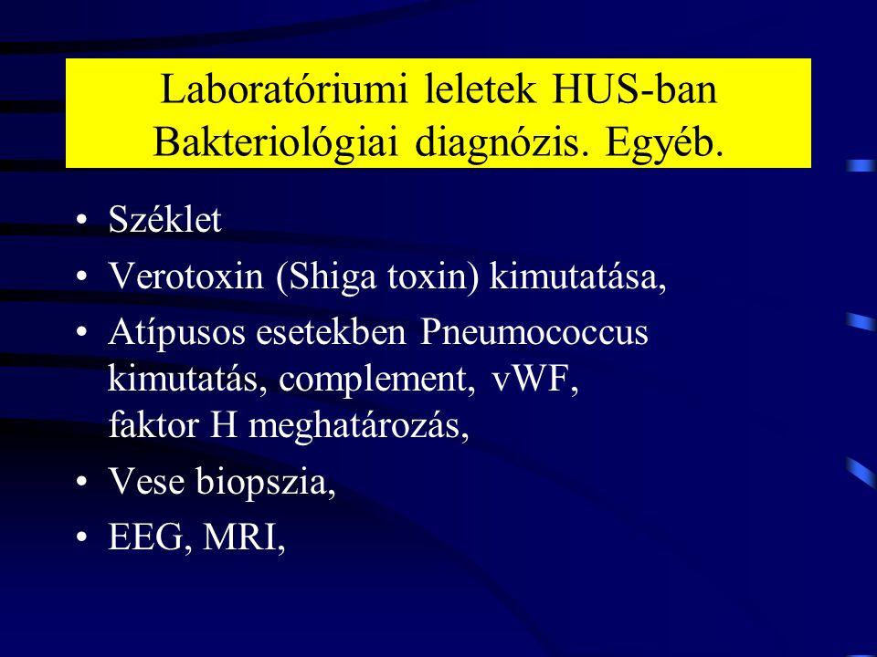 Laboratóriumi leletek HUS-ban Bakteriológiai diagnózis. Egyéb.