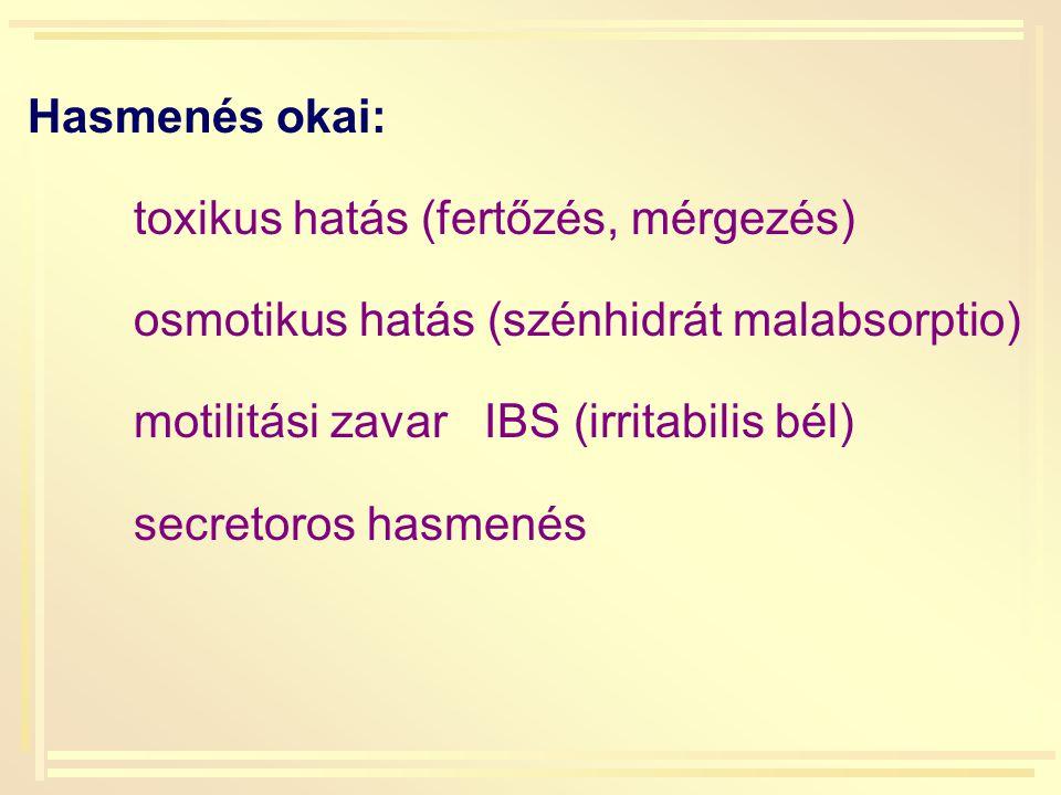 Hasmenés okai: toxikus hatás (fertőzés, mérgezés) osmotikus hatás (szénhidrát malabsorptio) motilitási zavar IBS (irritabilis bél)