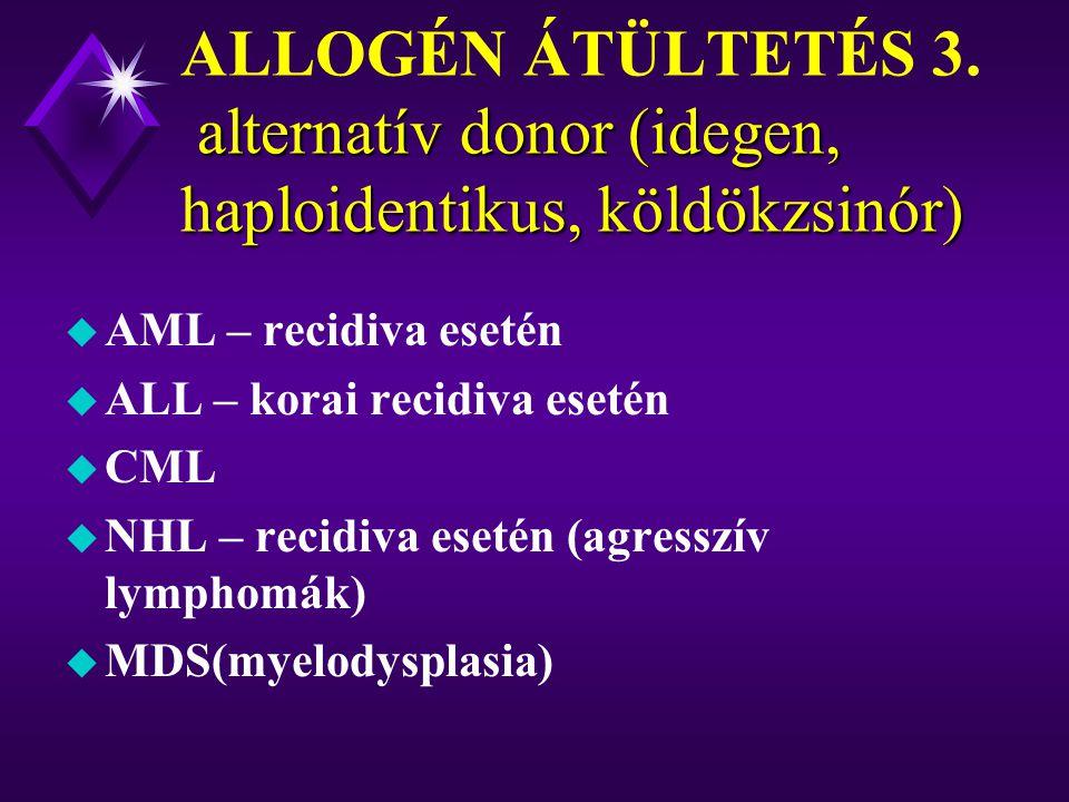 ALLOGÉN ÁTÜLTETÉS 3. alternatív donor (idegen, haploidentikus, köldökzsinór)