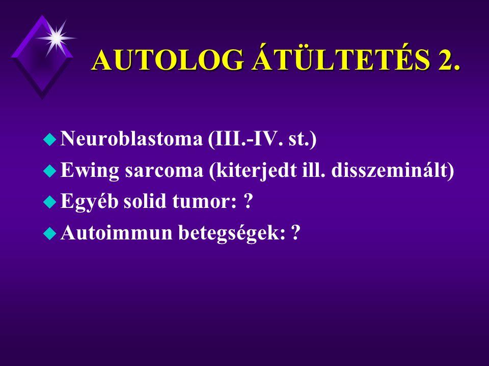 AUTOLOG ÁTÜLTETÉS 2. Neuroblastoma (III.-IV. st.)