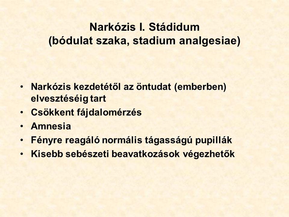Narkózis I. Stádidum (bódulat szaka, stadium analgesiae)