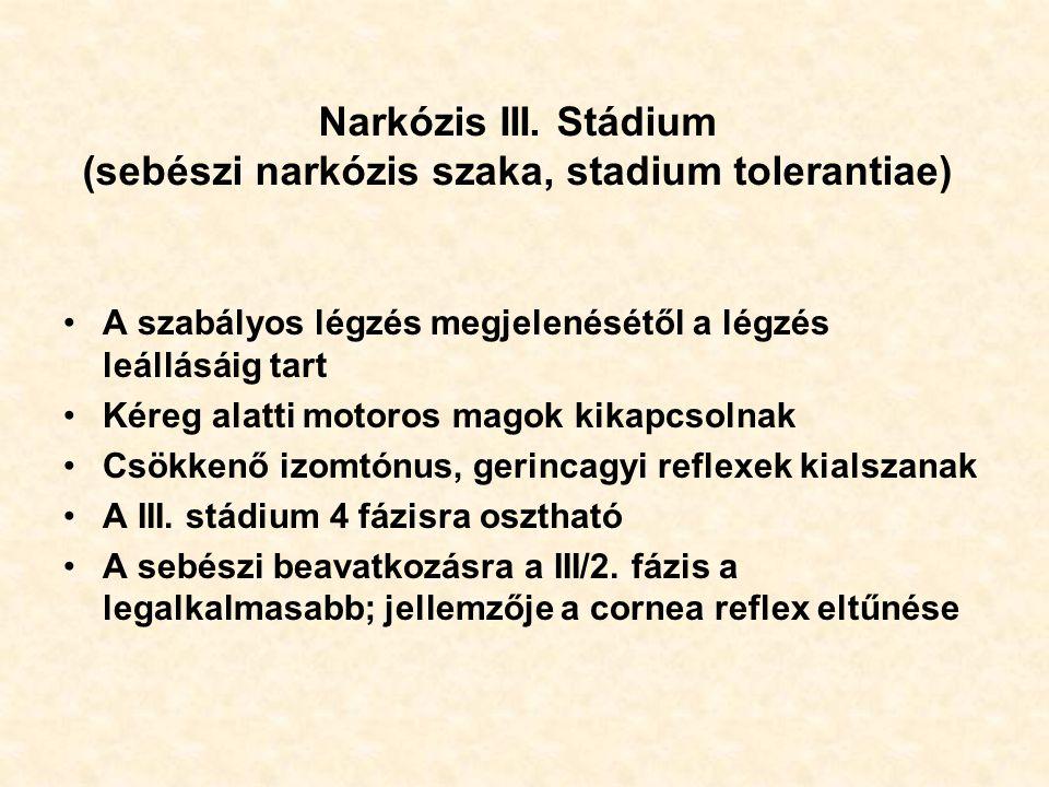 Narkózis III. Stádium (sebészi narkózis szaka, stadium tolerantiae)