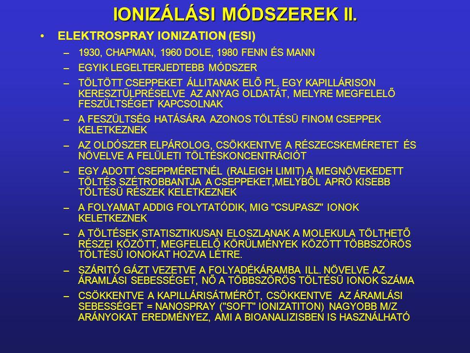 IONIZÁLÁSI MÓDSZEREK II.