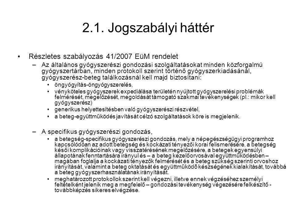 2.1. Jogszabályi háttér Részletes szabályozás 41/2007 EüM rendelet
