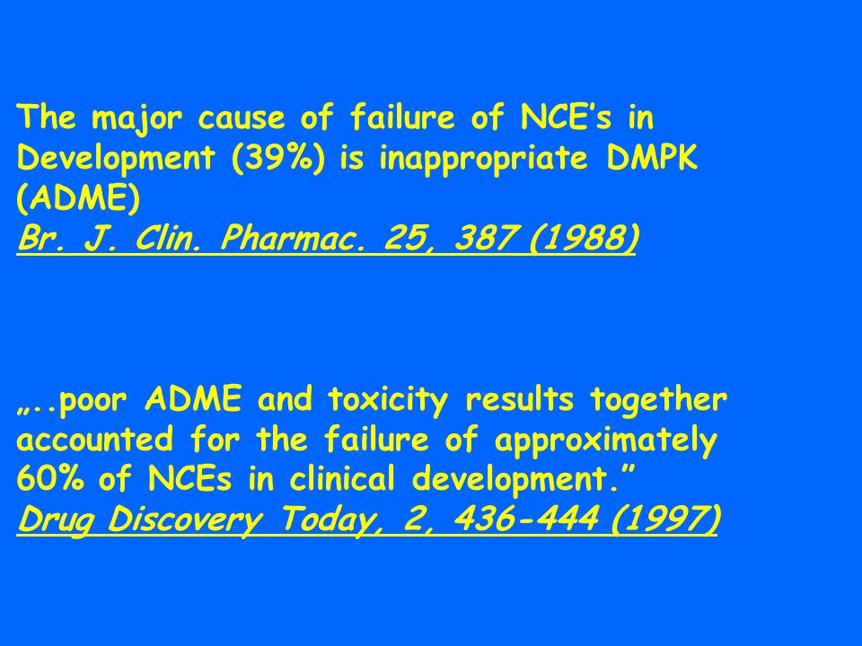 The major cause of failure of NCE's in Development (39%) is inappropriate DMPK (ADME)