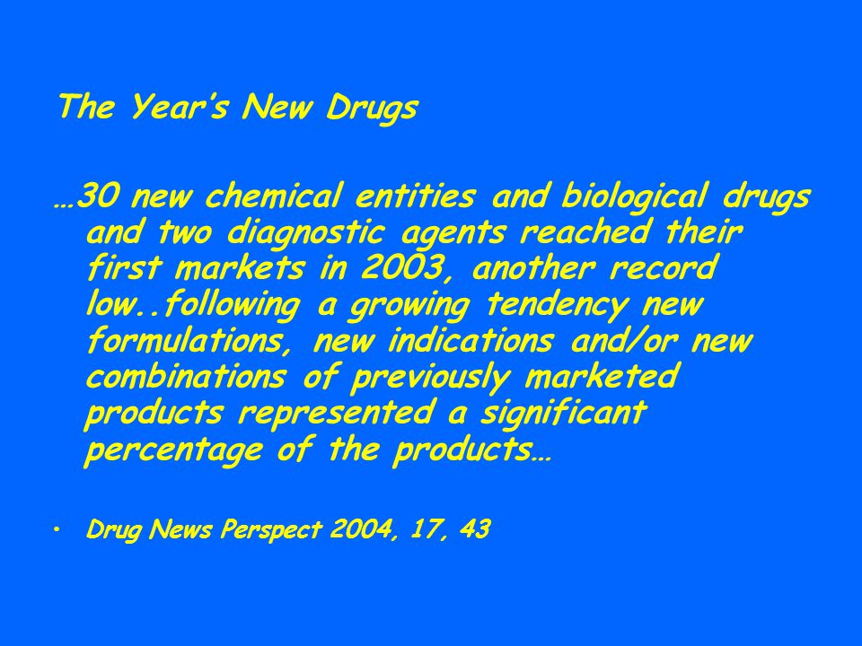 The Year's New Drugs