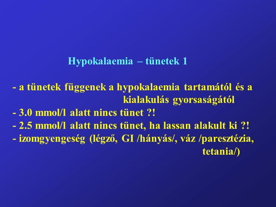 Hypokalaemia – tünetek 1 - a tünetek függenek a hypokalaemia tartamától és a kialakulás gyorsaságától - 3.0 mmol/l alatt nincs tünet .