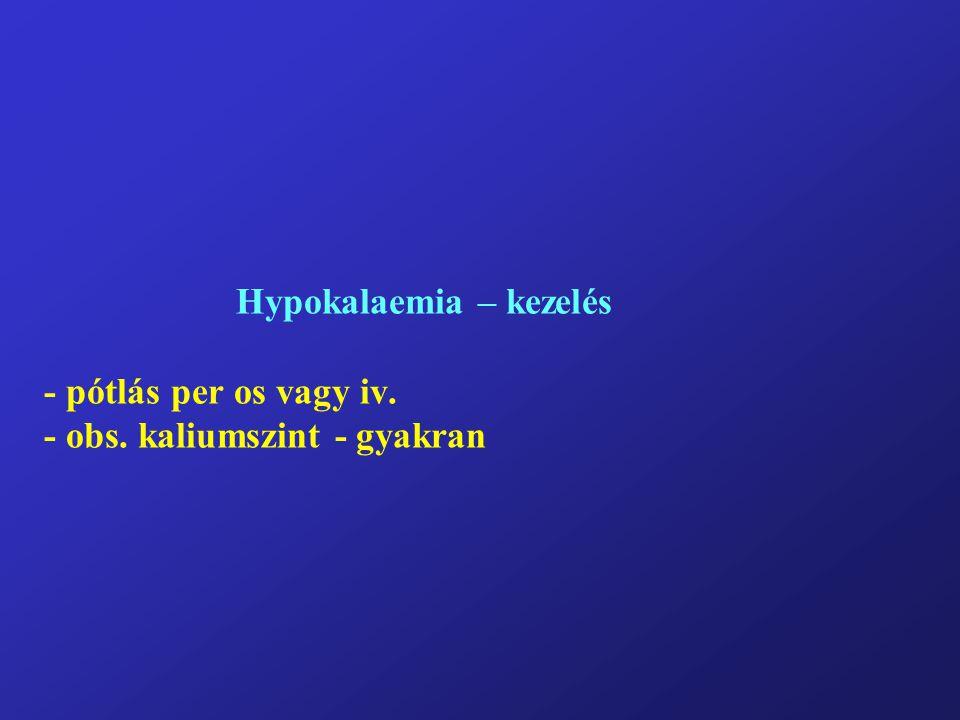 Hypokalaemia – kezelés - pótlás per os vagy iv. - obs