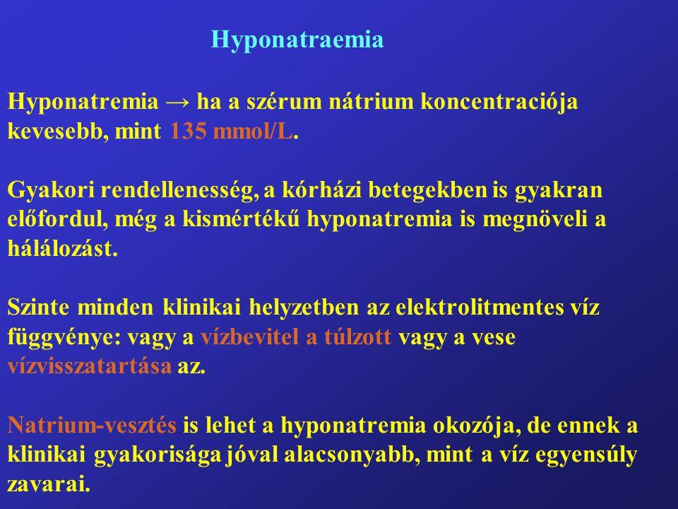 Hyponatraemia Hyponatremia → ha a szérum nátrium koncentraciója kevesebb, mint 135 mmol/L.