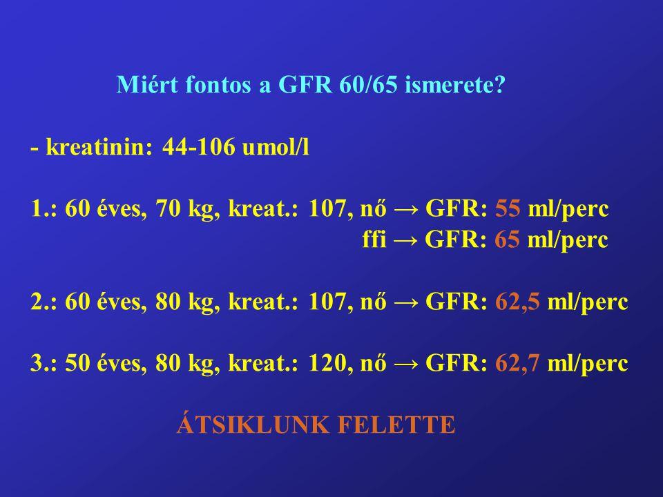 Miért fontos a GFR 60/65 ismerete. - kreatinin: 44-106 umol/l 1