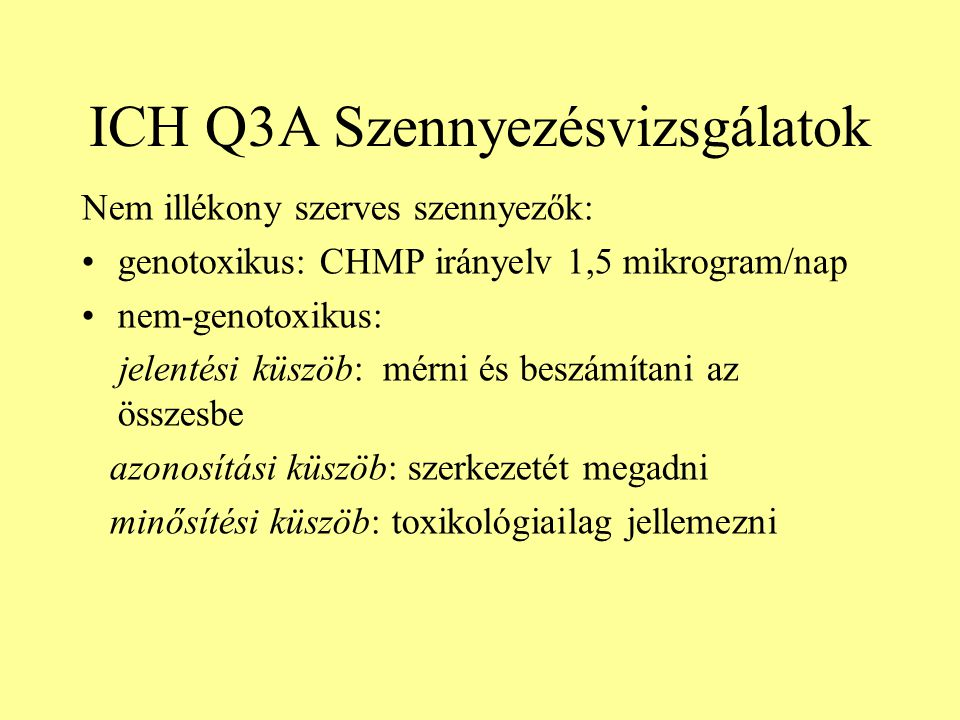 ICH Q3A Szennyezésvizsgálatok