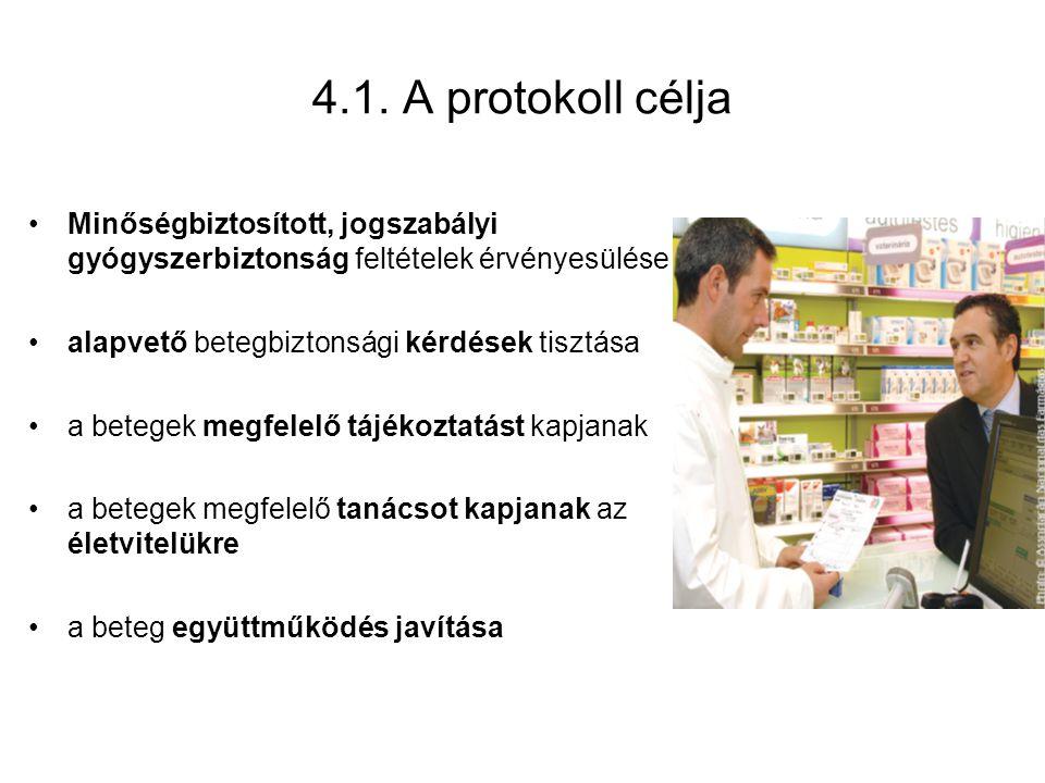 4.1. A protokoll célja Minőségbiztosított, jogszabályi gyógyszerbiztonság feltételek érvényesülése.