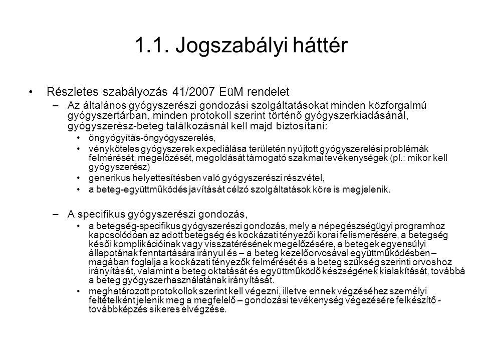 1.1. Jogszabályi háttér Részletes szabályozás 41/2007 EüM rendelet