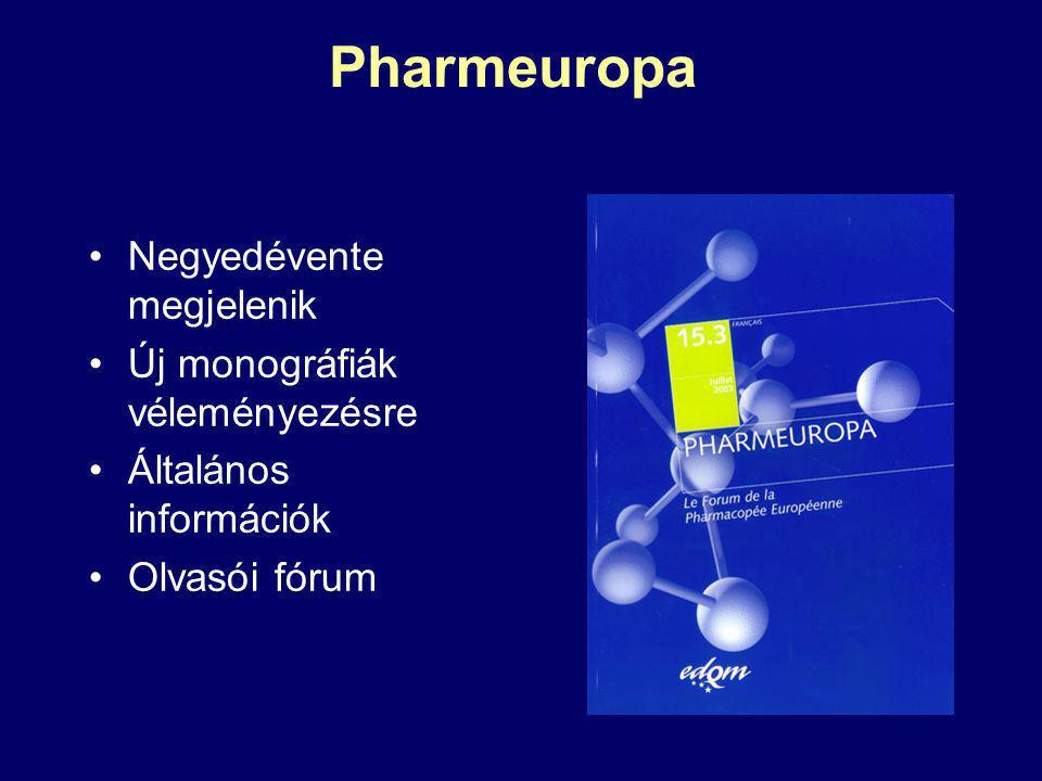 Pharmeuropa Negyedévente megjelenik Új monográfiák véleményezésre