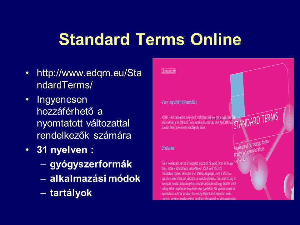 Standard Terms Online http://www.edqm.eu/StandardTerms/