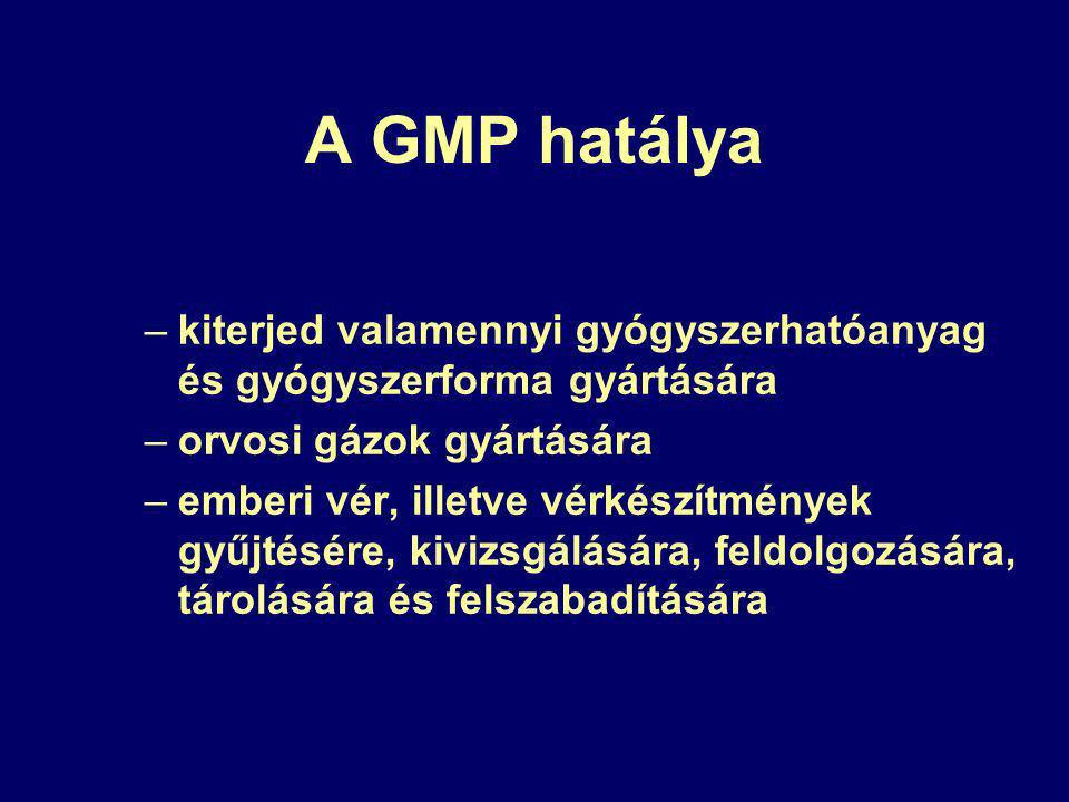 A GMP hatálya kiterjed valamennyi gyógyszerhatóanyag és gyógyszerforma gyártására. orvosi gázok gyártására.