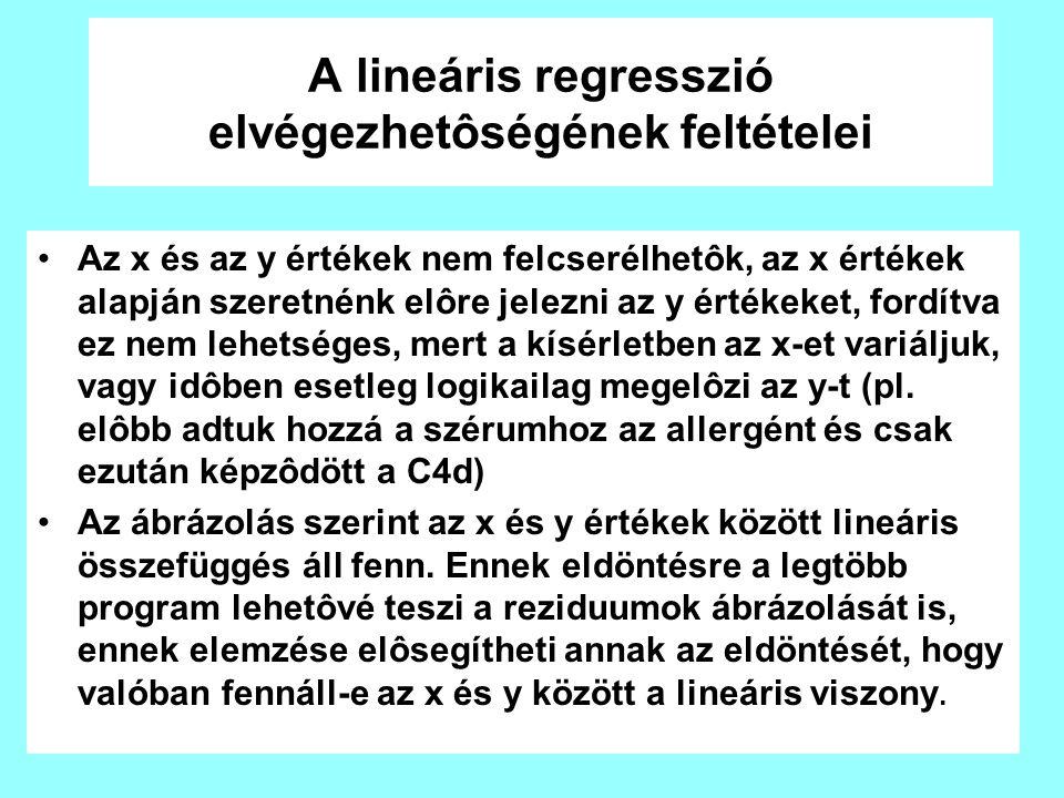 A lineáris regresszió elvégezhetôségének feltételei