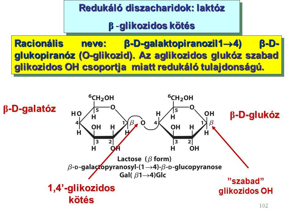 Redukáló diszacharidok: laktóz szabad glikozidos OH