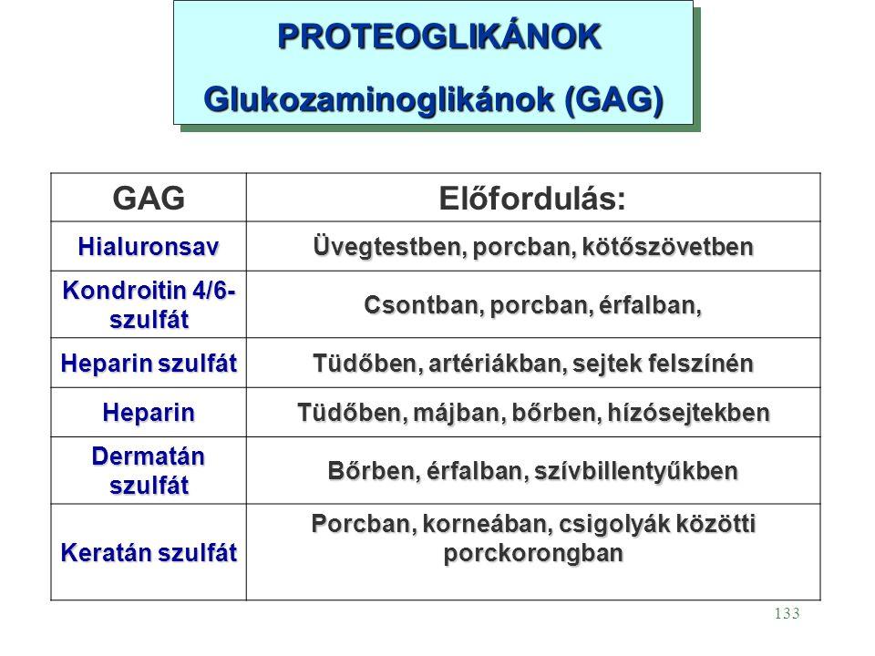 PROTEOGLIKÁNOK Glukozaminoglikánok (GAG) GAG Előfordulás: Hialuronsav