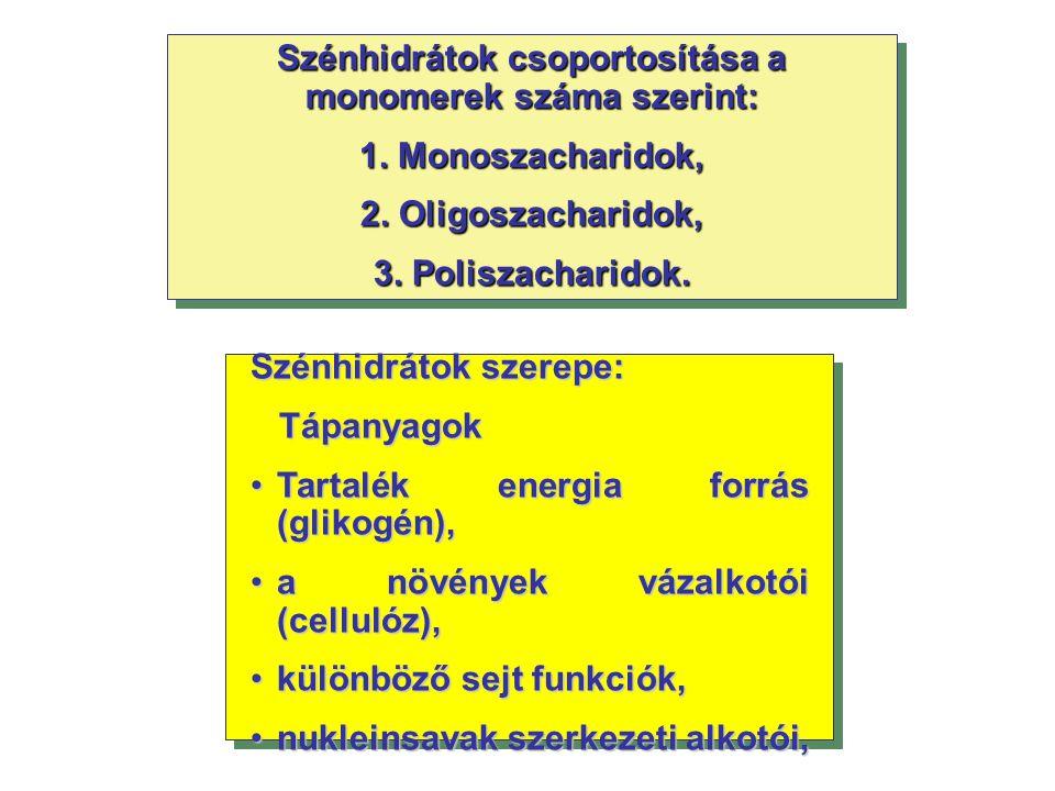 Szénhidrátok csoportosítása a monomerek száma szerint: