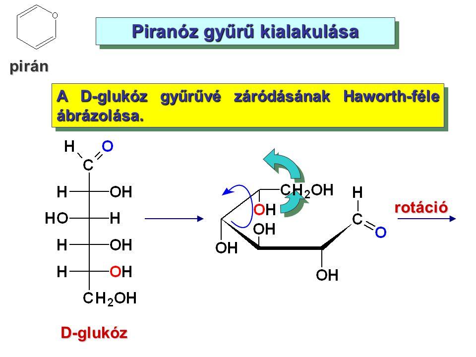 Piranóz gyűrű kialakulása