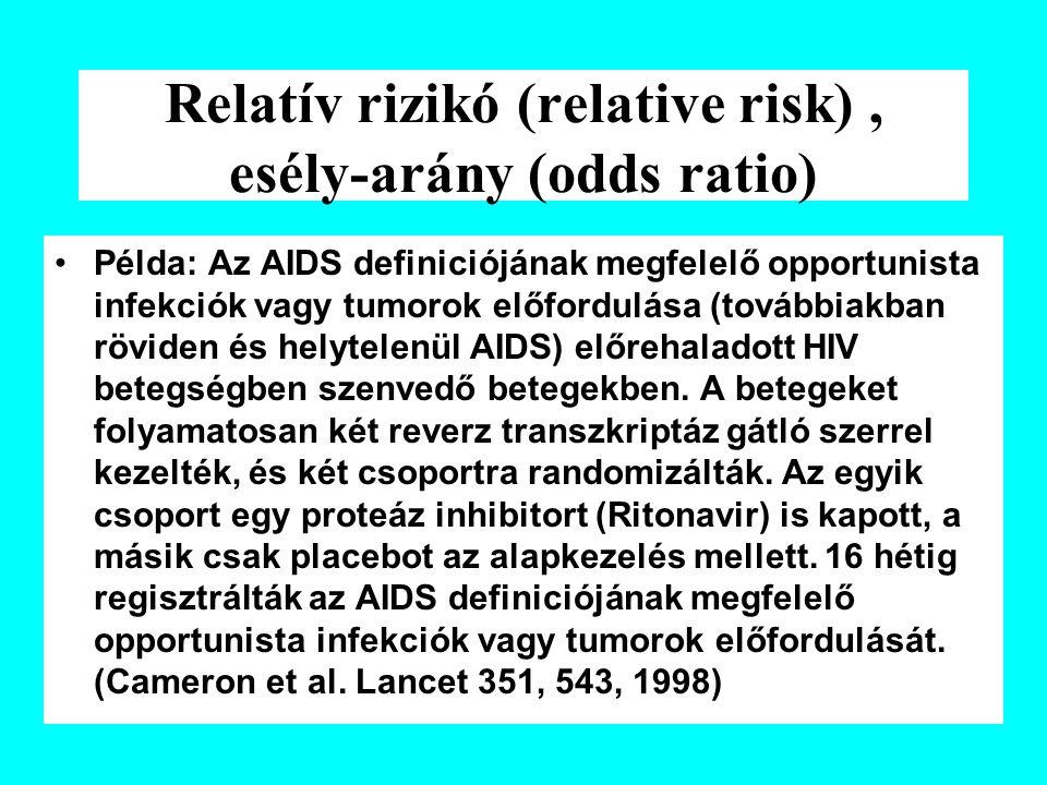 Relatív rizikó (relative risk) , esély-arány (odds ratio)