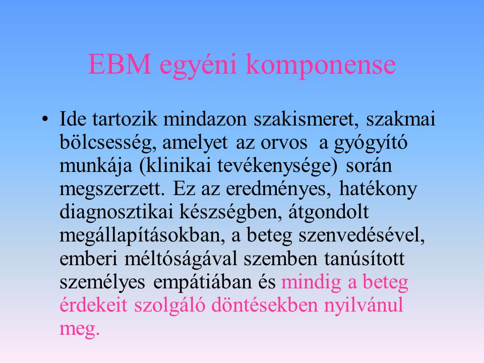 EBM egyéni komponense