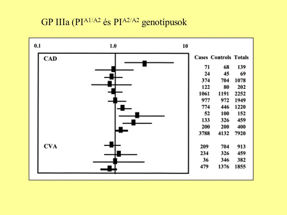 GP IIIa (PIA1/A2 és PIA2/A2 genotípusok