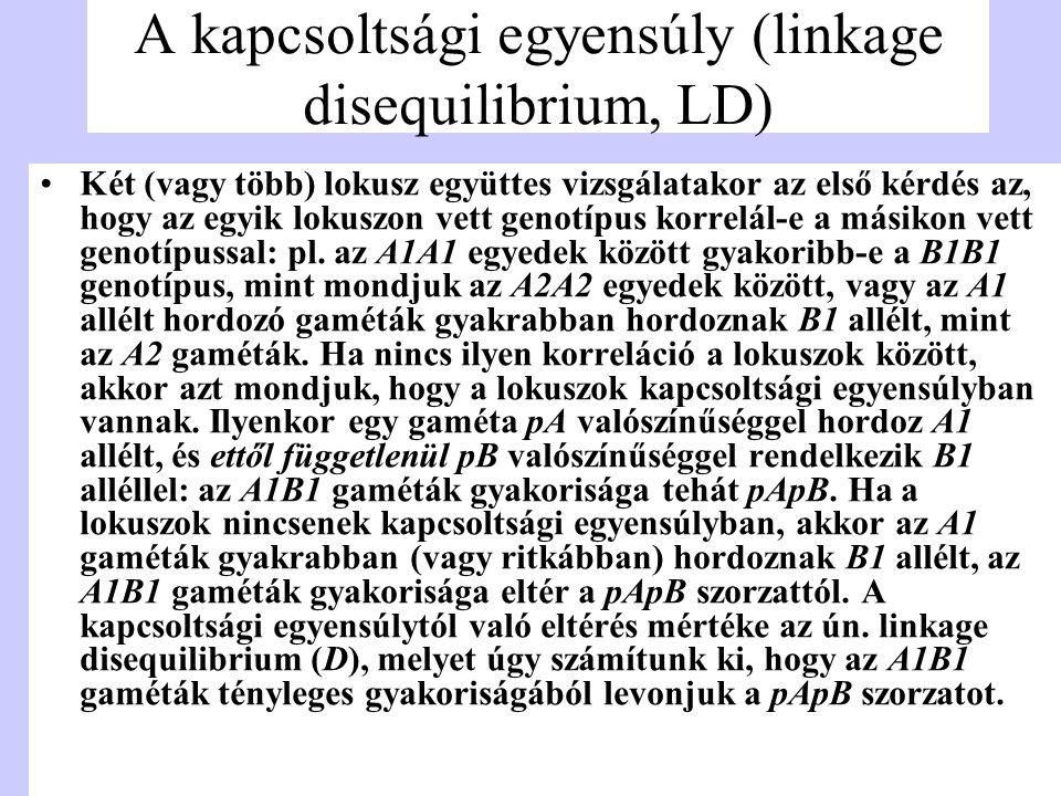 A kapcsoltsági egyensúly (linkage disequilibrium, LD)