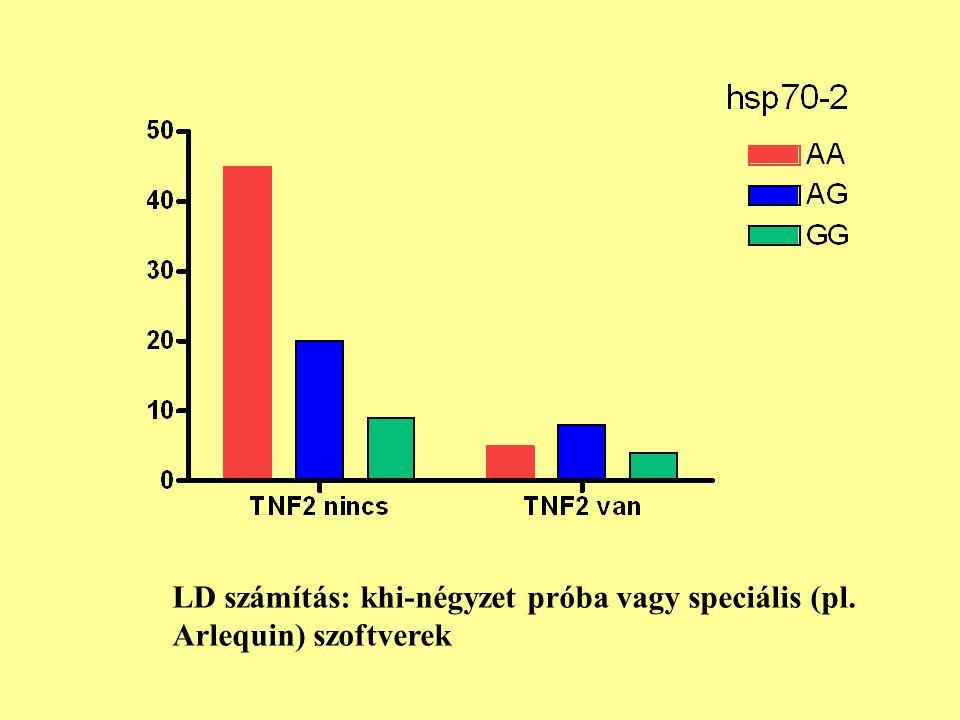 LD számítás: khi-négyzet próba vagy speciális (pl. Arlequin) szoftverek