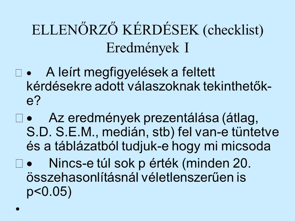 ELLENŐRZŐ KÉRDÉSEK (checklist) Eredmények I