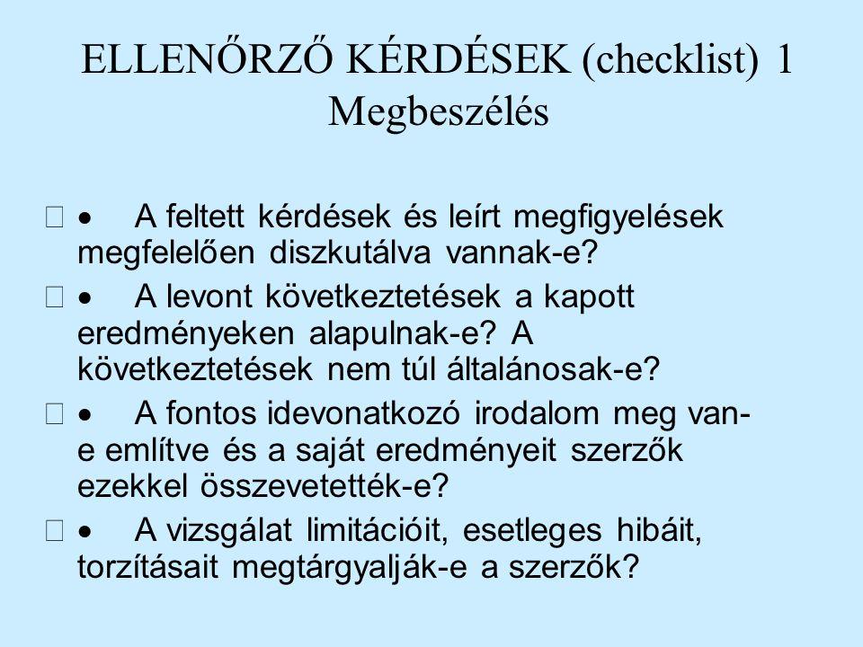 ELLENŐRZŐ KÉRDÉSEK (checklist) 1 Megbeszélés