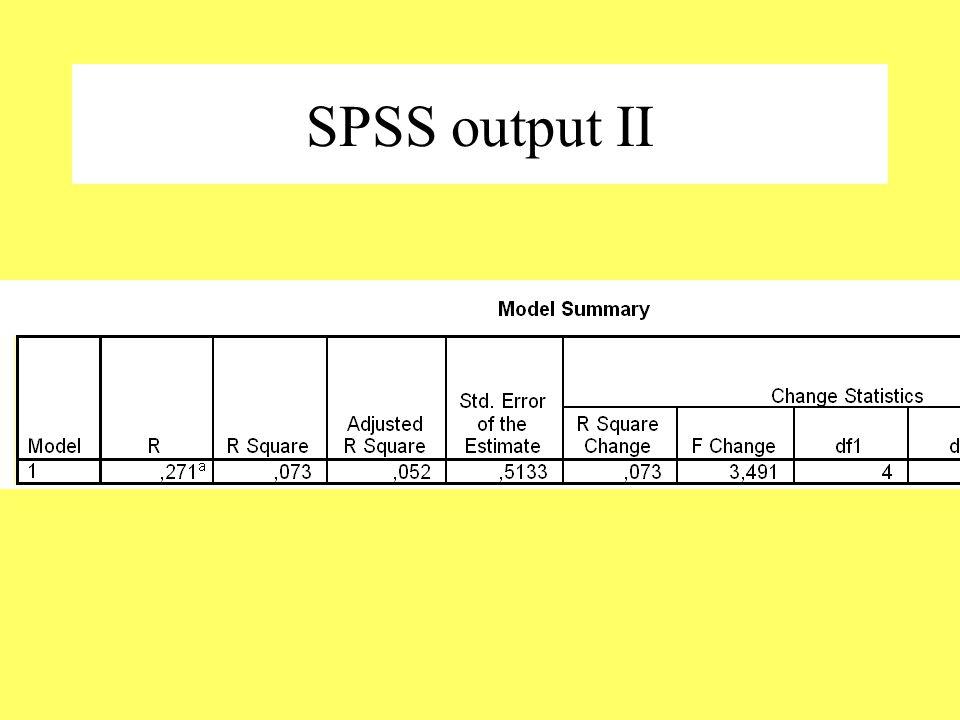 SPSS output II