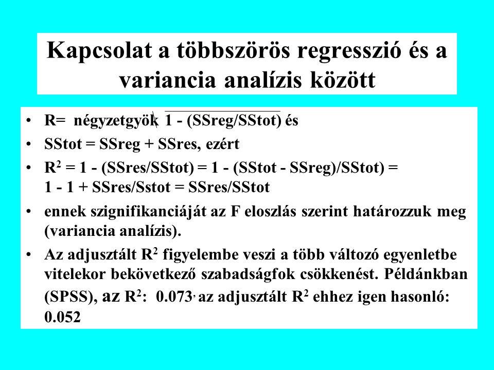 Kapcsolat a többszörös regresszió és a variancia analízis között