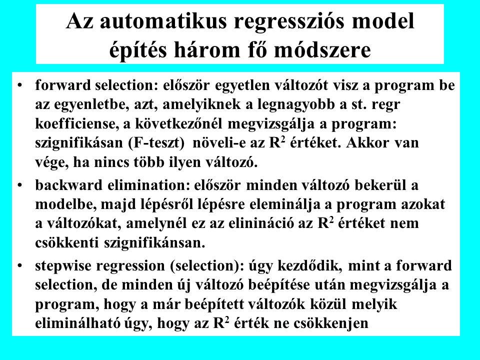 Az automatikus regressziós model építés három fő módszere