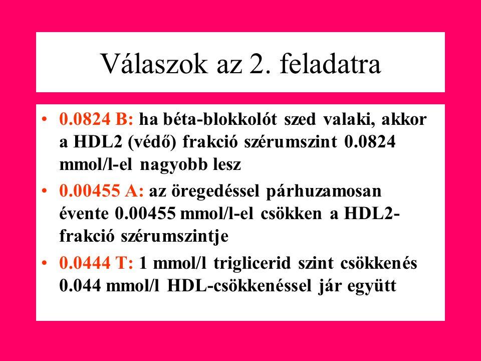 Válaszok az 2. feladatra 0.0824 B: ha béta-blokkolót szed valaki, akkor a HDL2 (védő) frakció szérumszint 0.0824 mmol/l-el nagyobb lesz.