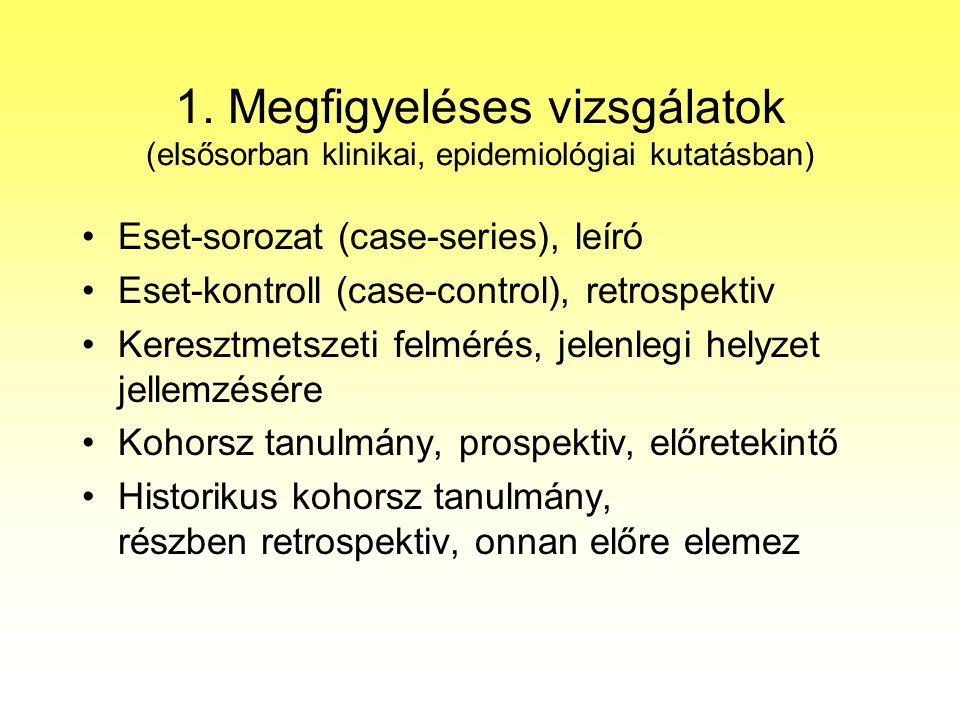 1. Megfigyeléses vizsgálatok (elsősorban klinikai, epidemiológiai kutatásban)