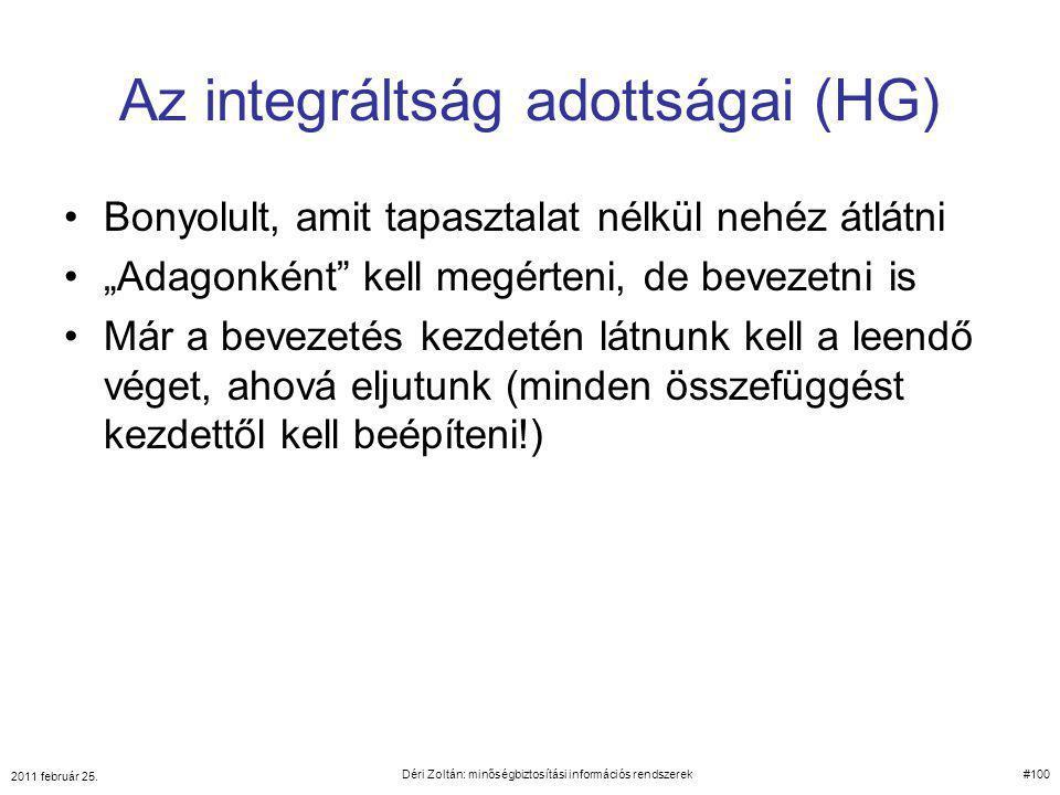 Az integráltság adottságai (HG)