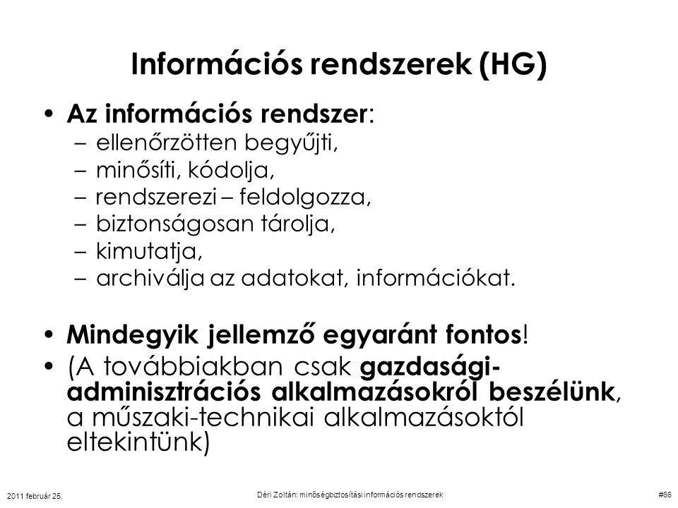 Információs rendszerek (HG)