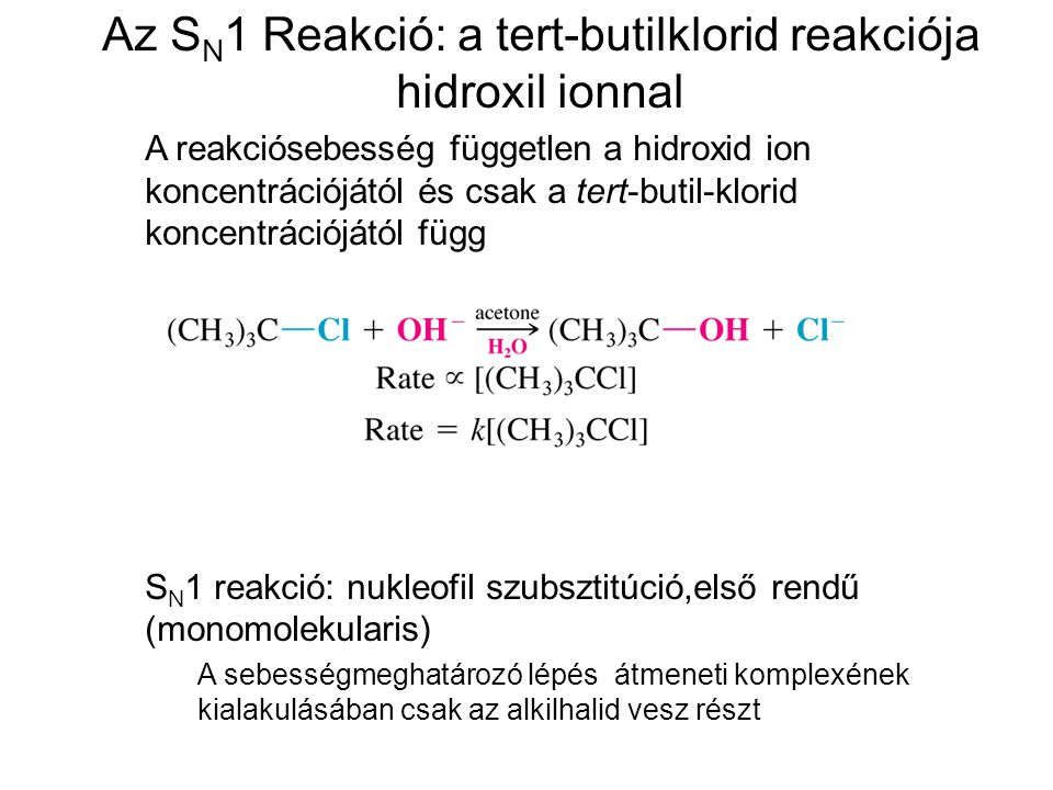 Az SN1 Reakció: a tert-butilklorid reakciója hidroxil ionnal
