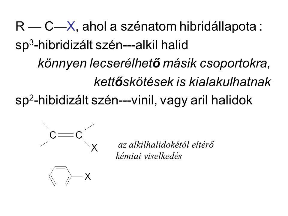 R — C—X, ahol a szénatom hibridállapota :