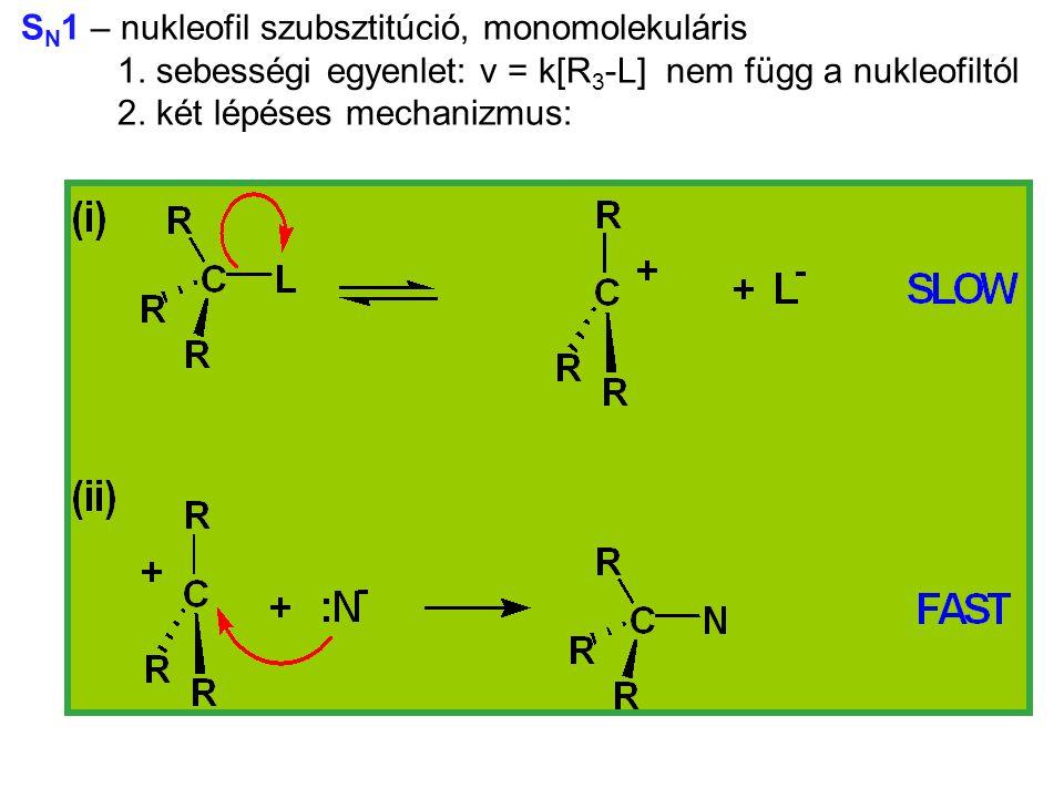 SN1 – nukleofil szubsztitúció, monomolekuláris