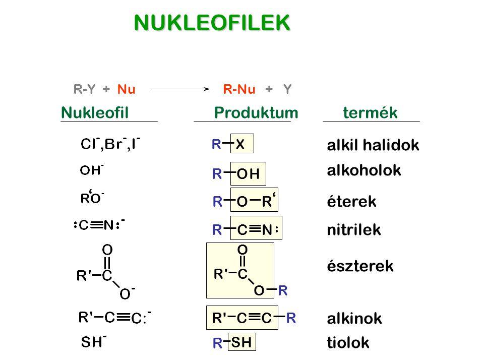 NUKLEOFILEK Nukleofil Produktum termék alkil halidok alkoholok ' '