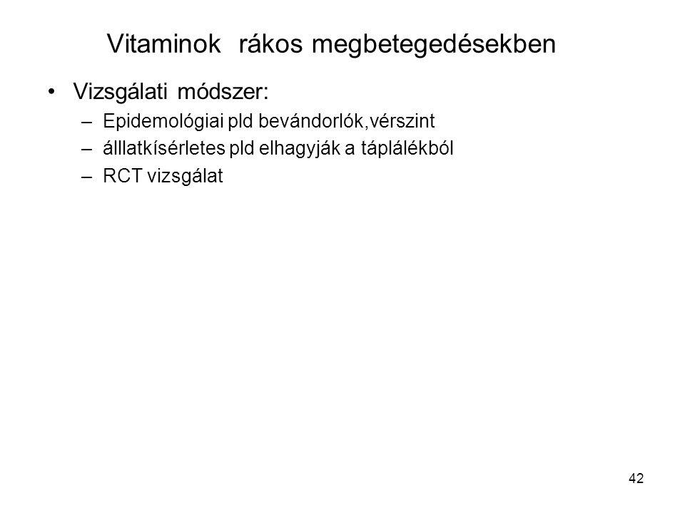 Vitaminok rákos megbetegedésekben