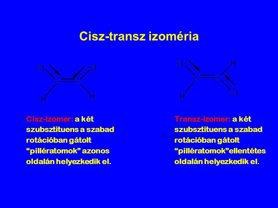 Cisz-transz izoméria Cisz-izomer: a két szubsztituens a szabad